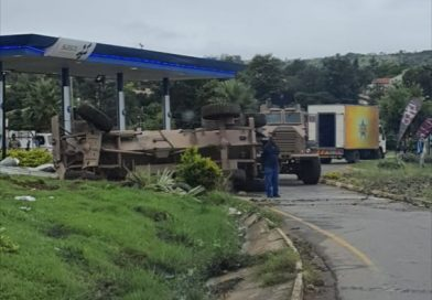 Watch: SANDF vehicle crashes and rolls next to petrol station in Mthatha EC