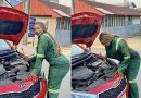 South Africans mock a slay queen mechanic for fixing engine with a wheel spanner – Photos